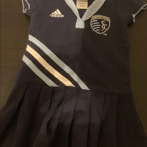 Adidas navy tennis dress Sporting KC, size 12 mo